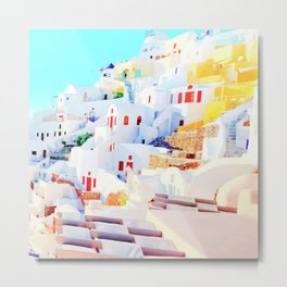 Aegean Island with Colorful Houses Metal Print