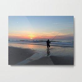 Sunset Beach Fishing Silhouette Metal Print