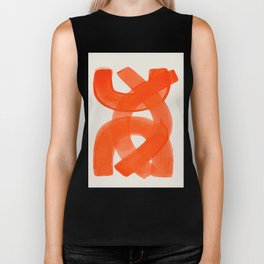 Mid Century Modern Abstract Painting Orange Watercolor Brush Strokes Biker Tank