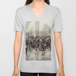 Isaac Lazarus Israels - Departure Of A Detachment Of Troops To Ni, Rotterdam Unisex V-Neck
