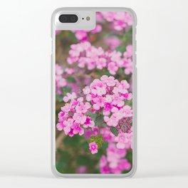 Purple Flowers in the Field Clear iPhone Case