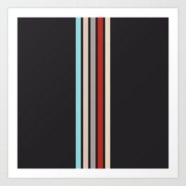 Colorful Retro Stripes Black Art Print