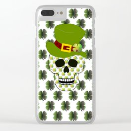 St Paddys Skull - St Patrick's Day Clear iPhone Case