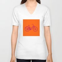 bicycle V-neck T-shirts featuring Bicycle by Mr & Mrs Quirynen