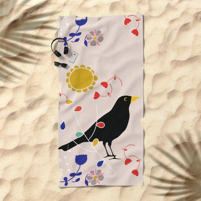Black Bird Cream Beach Towel