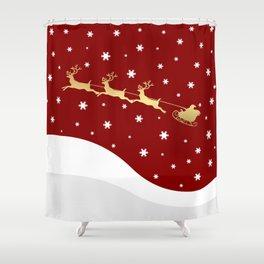 Red Christmas Santa Claus Shower Curtain