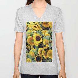 Happy Sunflowers Unisex V-Neck
