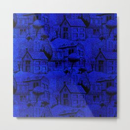 V25 Blue Architecture Design Traditional Moroccan Rug Background. Metal Print