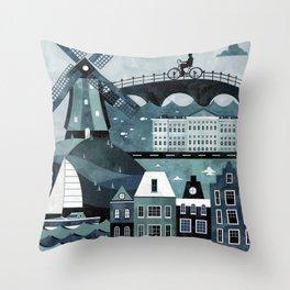 Amsterdam Travel Poster Throw Pillow