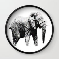 african Wall Clocks featuring African Elephant by T.E.Perry