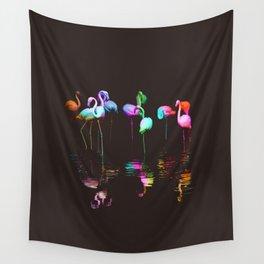 Rainbow Flamingos Wall Tapestry