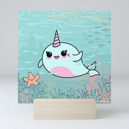 Cute Narwhal and Starfish Mini Art Print