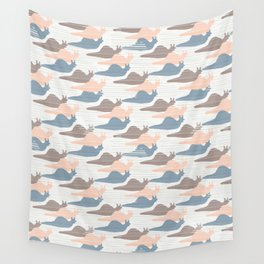 Pink Blue and Brown Snail Race Silhouette Seamless Wall Tapestry