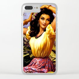 Mexican Beauty with Purple Flower by Jesus Helguera Clear iPhone Case