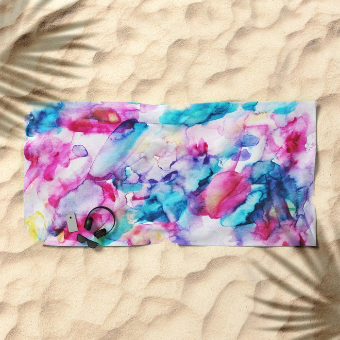 Colorful transparency || watercolor Beach Towel