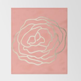 Flower in White Gold Sands on Salmon Pink Throw Blanket