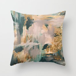 Teal and Gold Abstract- 24K Magic Throw Pillow
