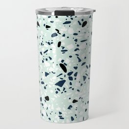 'Speckle Party' Navy Mint Black White Dots Speckle Terrazzo Pattern Travel Mug