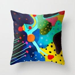 Abstract Art - Lagoon mushrooms rupydetequila amazonia dots cheetah Throw Pillow