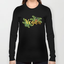 Tropical Vegan with Pineapples Long Sleeve T-shirt