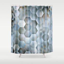 Blue Hex Pattern Shower Curtain