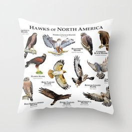 Hawks of North America Throw Pillow
