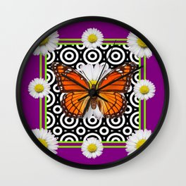 Purple Monarch Butterfly Shasta Daises Decor Art Wall Clock