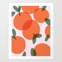 Oranges Pattern - simple orange illustration Art Print