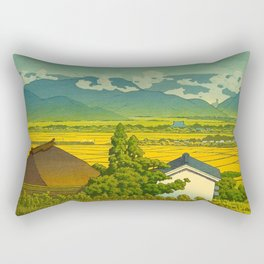 Kawase Hasui Vintage Japanese Woodblock Print Beautiful Mountain Valley Farmland Yellow Hues Rectangular Pillow