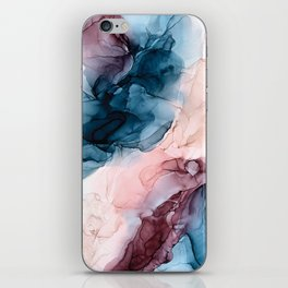 Pastel Plum, Deep Blue, Blush and Gold Abstract Painting iPhone Skin