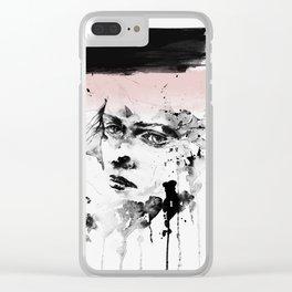 Woman, Girl art, Watercolor, Scandinavian, Minimal, Modern, Wall art Clear iPhone Case