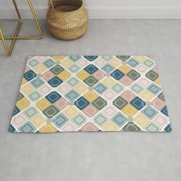 Retro Geometric Shapes in Muted Jewel Tones Blush Pink Green Blue Yellow Rug