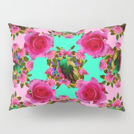 GREEN PEACOCK &  PINK ROSE GARDEN PINK PATTERN Pillow Sham