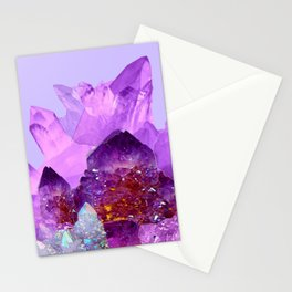 VIBRANT PURPLE AMETHYST CRYSTALS Stationery Cards