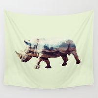 rhino Wall Tapestries featuring Rhino by 83 Oranges™