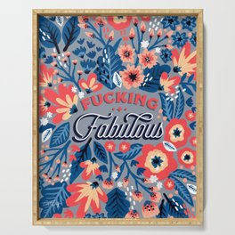 F*cking Fabulous – Denim & Coral Palette Serving Tray