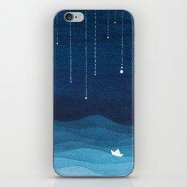 Falling stars, blue, sailboat, ocean iPhone Skin