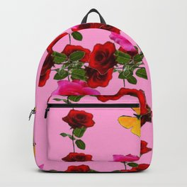 CLIMBING PINK & RED ROSES YELLOW BUTTERFLIES Backpack