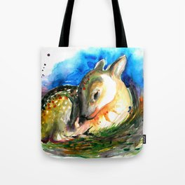 Baby Deer Sleeping - After My Original Watercolor On Heavy Paper Tote Bag