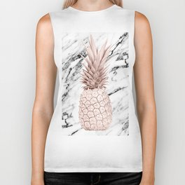 Rose Gold Pineapple on Black and White Marble Biker Tank