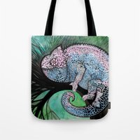 chameleon Tote Bags featuring Chameleon by oxana zaika