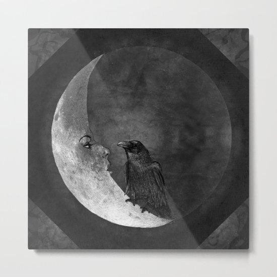 The crow and its moon. Metal Print
