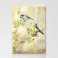 tits Stationery Cards featuring English Blue Tits by Trudi Simmonds