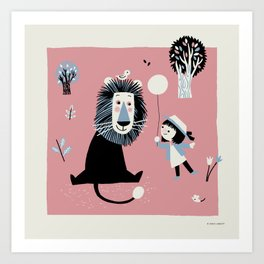 Lion In The Park Art Print