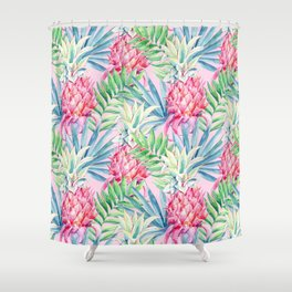 Pineapple & watercolor leaves Shower Curtain