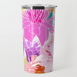 Ginger Flowers in Tropical Rainbow + White Travel Mug