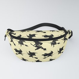 Black Flying Witches Broom Silhouette Halloween Fanny Pack