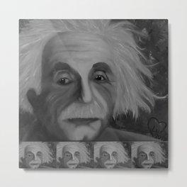 Albert Einstein, Original painting by Lu, black-and-white Metal Print