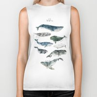 pink Biker Tanks featuring Whales by Amy Hamilton