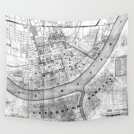 Vintage Map of Cincinnati Ohio (1838) BW Wall Tapestry